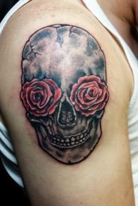 skull rose eyes